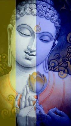 Buddha n flower Buddha Zen, Buddha Buddhism, Buddhist Art, Buddha Meditation, Budha Painting, Mural Painting, Mural Art, Pintura Zen, Pointillism
