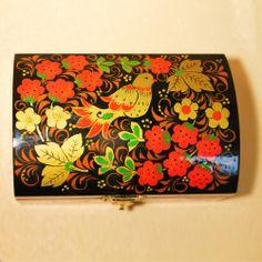 "Souvenirs from Russia - Khokhloma Jewelry Box - Trunk ""Wild Flowers"" Hohloma Jewelry Box - Trunk"
