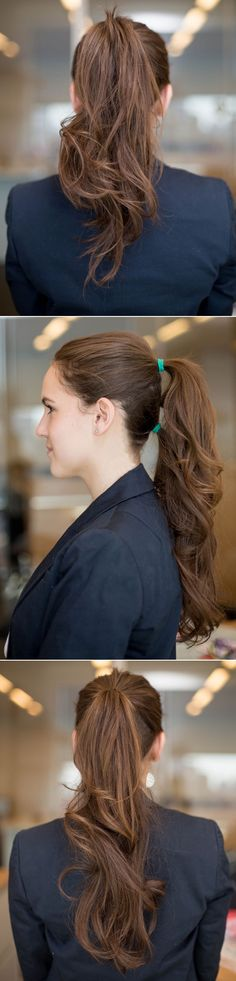 First ponytail at the crown of your head and the second at the nape of your neck for an ol instantly longer ponytail