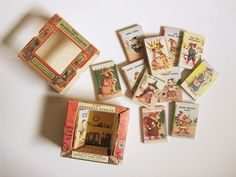 love all the little details in the packaging for this miniature vintage children's book set.