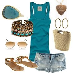 Teal/Brown Beach Wear, created by #jody-schroeder-marks on #polyvore. #fashion #style Hollister Co. H&M