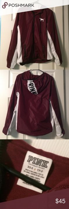 Maroon PINK Rain Coat Great Condition! Worn twice! No blemishes, practically new! PINK Victoria's Secret Jackets & Coats Utility Jackets