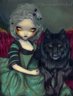 Loup-Garou Noir Wolf / Wolves Rococo dog gothic fantasy lowbrow big eye fairy art print by Jasmine Becket-Griffith 8x10. $13.99, via Etsy.