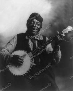 Happy Mose 1900s Black Banjo Player 8x10 Reprint Of Old Photo