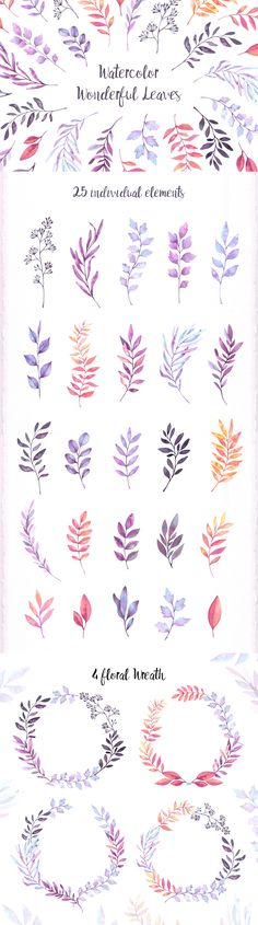 12$ Watercolor wonderful leaves. Collection of PNG elements and wreaths. Perfect for wedding invitations, greeting cards, prints, flyers, posters, textile, packing etc. By Kate Macate