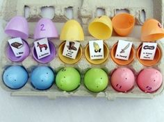 Resurrection eggs:Teach children the true Easter story by finding 12 eggs filled with the timeline of Jesus' Resurrection.  Also hide other eggs filled with treats but when they bring 1-12 to you, you can go over the story with them. CUTE!