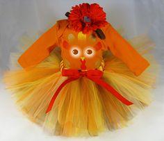 Baby's Turkey Thanksgiving Tutu Set - Fall Colors Tutu - Onesie and Headband Set - Size 24 Months - Style TGTS2. $38.00, via Etsy.