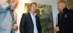 From the art exhibition with Magne Furuholmen and Håvard Vikhagen in 2012. Having a conversation with Dennis Storhøi who is playing Peer Gynt in the festival.