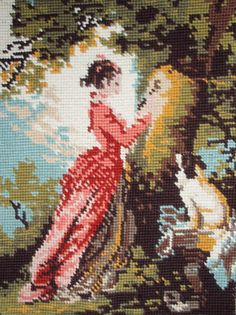 Vintage French needlepoint tapestry canvas embroidery - Le Chiffre d'Amour - The Love Number, after Fragonard