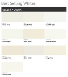 """Benjamin Moore Best Selling Whites- another pinner wrote"""" cloud white is usually my fave- but I like the white dove or snowfall white better"""". http://media-cache-ec0.pinimg.com/originals/73/c2/91/73c291d258ce1845d831fe9d02b72614.jpg"""