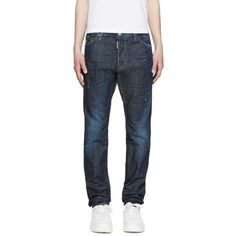 Dsquared2 Indigo Cool Guy Jeans (26.655 RUB) ❤ liked on Polyvore featuring men's fashion, men's clothing, men's jeans, mens slim fit jeans, mens distressed jeans, mens destroyed jeans, mens ripped jeans and mens slim jeans