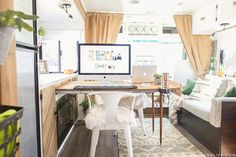 Could you live in less than 300 square feet? See how this outdated motorhome was completely transformed into a rustic modern RV! Mobile Living, Rv Living, Tiny Living, Rv Interior, Interior Design, Hidden Desk, Rv Makeover, Rv Storage, Vintage Travel Trailers