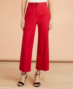 Wide Leg Trousers, Cropped Pants, Pantsuits For Women, Red Pants, Preppy Style, Pants Outfit, Fashion Accessories, Italy, Touch