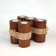 Bamboo Candle Holder  Tealight holder bamboo set of by CreateitUp, $16.50