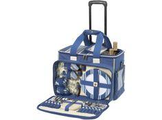 Picnic At Ascot Aegean Picnic Cooler On Wheels, Blue Stripe/ Denim Picnic Cooler, Picnic Set, Rolling Cooler, Picnic At Ascot, Kitchen Storage, Blue Stripes, Home Kitchens, Wheels, Gifts