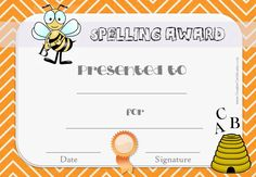 Free Spelling Bee Certificate Templates - Customize Online intended for Spelling Bee Award Certificate Template - Best & Professional Templates Ideas Certificate Of Completion Template, Certificate Of Achievement Template, Birth Certificate Template, Printable Certificates, Award Certificates, Spelling Bee Words, Grade Spelling, Spell Bee Competition, Spelling Activities
