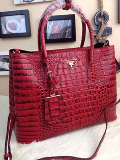 Red Prada Saffiano Croc Embossed Leather Tote Bag b70caa34a69af