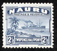 """Nauru  1948 Scott 21a 2 1/2p blue """"Freighter"""" Glazed surface white paper"""