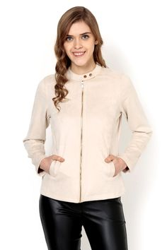 Off White Plain Jacket - Jackets - Western - Lakshita Smart Jackets, White Plains, Stylish Boots, Winter Looks, Jeggings, Polyester Spandex, Off White, Winter Jackets, Denim