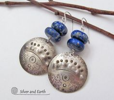 Tribal Earrings Sterling Silver Earrings Lapis by SilverandEarth