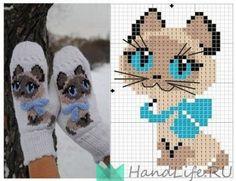 Чудо-варежки с котенком / Вязание