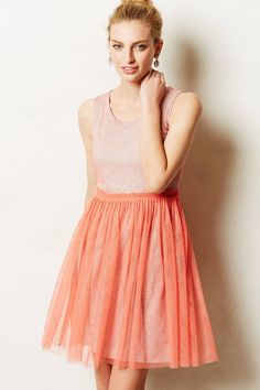 Anthropologie Tahitian Dusk Dress Sz M, Coral Pink w/Gray Underlayer By Greylin #Greylin #FitFlare #Casual