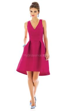 81b34a65e08 Alfred Sung style is a Cocktail length v-neck dupioni dress w  matching  belt at natural waist and subtle high-low hem. Pleated skirt has pockets at  side ...