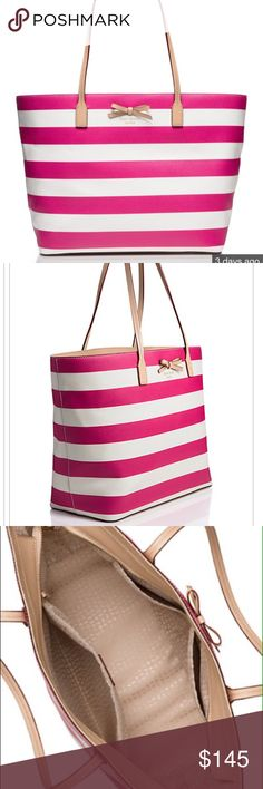 """Kate Spade fuschia/cream tote NWT Fuschia/cream striped Sawyer Street Margereta tote made of pebble texture vinyl with tan leather trim and decorative bow.  Top zipper closure, 2 interior side pockets and 1 interior zipper pocket, gold hardware. Approx 9.5"""" strap drop, 16""""L top, 6.5""""W, 11.5""""H. (Photos by KateSpade.com) PRICE FIRM kate spade Bags Totes"""