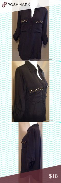 Sofia Vergara Button Down Shirt This black Button Down top features two pockets on the front decorated with studs. Perfect for work, an interview, church or going out. Size: XL; 100% Polyester. Tops Button Down Shirts