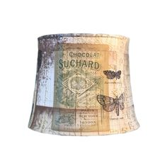 Your place to buy and sell all things handmade Eclectic Lamp Shades, Eclectic Lamps, Contemporary Lamp Shades, Coral Lamp, Blue Lamp Shade, French Lamp Shades, Paris New York, French Script, Custom Shades