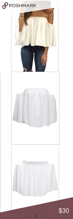Off the shoulder blouse Stylish Bateau Neck Half Sleeves Falbala Design White Chiffon Blousing Blouse. I also have blue in stock S-XL. Tops Blouses