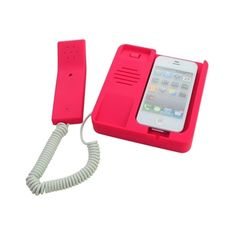 Home Office Desk Retro Handset for iPhone 4 4S with Headphone Red ❤ liked on Polyvore featuring accessories, tech accessories, acessorios, phone, iphone headphones, red headphones, headphones and apple iphone 5 headphones