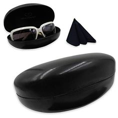 5f422cbc61f Hard Sunglasses Cases for Large to oversized frames with cleaning cloth Large  Frames