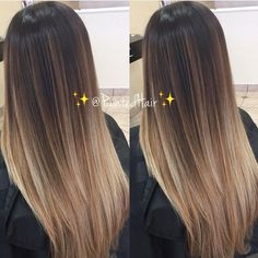 Balayage ombre, dark to light, brown to blonde hair. Color ...