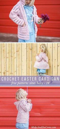 b3545f2e0451f Hooded All-Season Child s Crochet Cardigan - Sizes Newborn - 14.