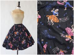 Vintage original 1950s 50s novelty print calypso dancers skirt Advantage in Vintage