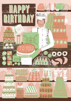 Roger la Borde | Cake Shop Greeting Card by Alice Patullo