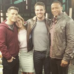 Stephen Amell, Colton Haynes, Emily Bett Rickards and David Ramsey