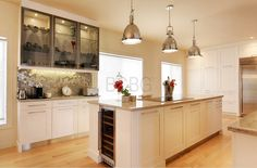 Contemporary kitchen style with maple cabinet painted in with lacquer