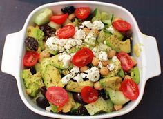 Avocado Chickpea Cucumber and Tomato Salad I love this salad can't get enough!