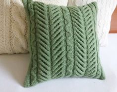 Watercress cable knit pillow cover, hand knit cushion cover green, 16 x16 decorative couch pillow, throw pillow, Christmas pillow case