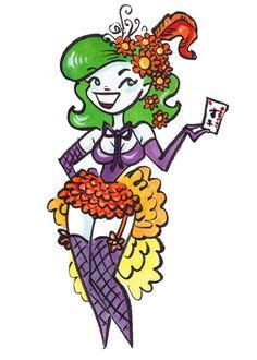 Burlesque The Joker PinUp Girl Drawing Batman by daisychurch, $7.00
