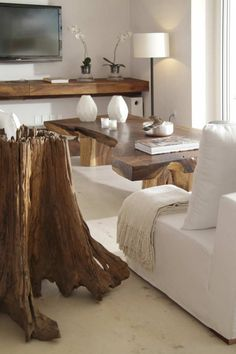 ahhh! ask anyone who knows me, I die for massive blocks of wood and white furniture. so perfect Trunk Furniture, Driftwood Furniture, White Furniture, Furniture Ideas, Timber Furniture, Driftwood Crafts, Living Furniture, Handmade Furniture, Contemporary Furniture