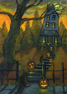 Halloween Painting, Halloween Make, Halloween Prints, Halloween Pictures, Halloween Horror, Halloween Cards, Holidays Halloween, Vintage Halloween, Halloween House