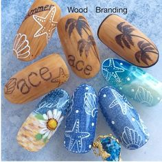 We will be uploading 15 new works at once, but a detailed BWJ schedule . Cute Nail Art Designs, Winter Nail Designs, Toe Nail Designs, Seashell Nails, Nautical Nails, Wood Nails, Coffin Shape Nails, Beach Nails, Minimalist Nails