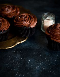 Earl Grey Chocolate Cupcakes / Stephanie Shih #cupcake #recipe #delicious {oh man who is ready to eat some of these!}