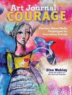 Art Journal Courage Cover. I used my acrylic paints, and also my stencils/masks on the cover.