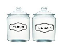 Jar Label Decals  -Made with Any text you want! Great for the kitchen. Flour, Sugar, etc i want jars that are air tight though!