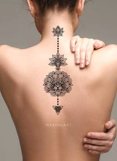 Tribal boho black lotus mandala spine back tattoo ideas for women - ideas de tatuajes para Maori Tattoos, Marquesan Tattoos, Body Art Tattoos, New Tattoos, Tattoos For Guys, Tattoos For Women, Cool Tattoos, Gorgeous Tattoos, Fake Tattoos