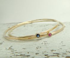 14k Gold Gemstone Bracelet, Gold Bangle, Hammered Gold Bracelet,Birthstone Bracelet, 14k Gold Bracelet - PUSH PRESENT??